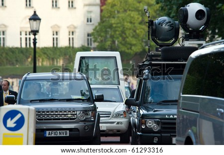 LONDON - SEPT. 18: The Pope travels from Horseguards to Hyde Park during his historic, first ever visit to England on September 18, 2010 in London