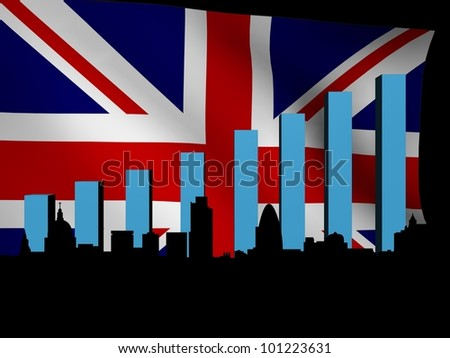 London skyline and graph over British flag illustration