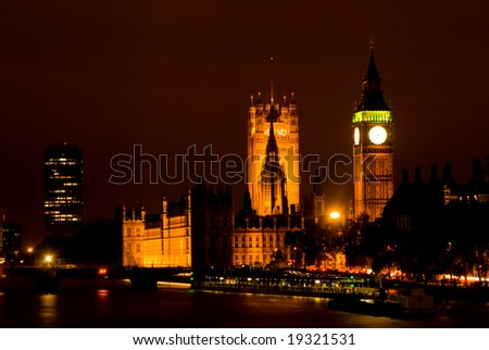 London Skyline at Night showing Big Ben and Westminster - stock photo