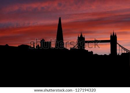 London skyline at sunset illustration