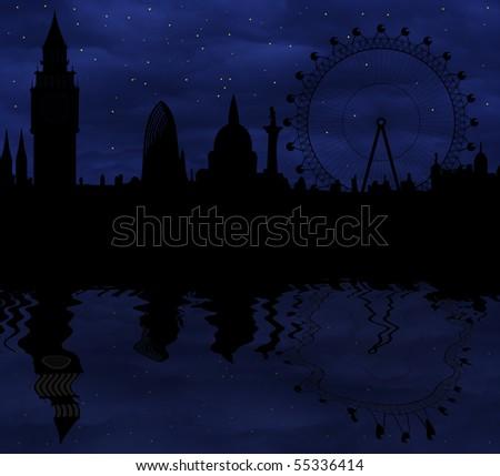 london eye skyline. stock photo : London skyline