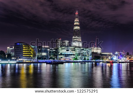 London skyline by night, including The Shard and the City Hall