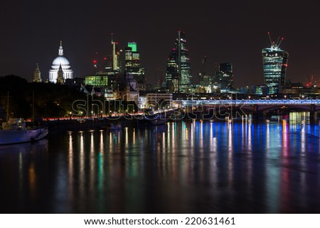 London skyline by night, St Paul\'s and City of London area.