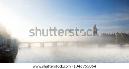 London skyline, Heavy fog hits London, seen from London Eye, include many iconic landmarks such as Westminster Palace, Big Ben, Victoria Tower and South Bank.