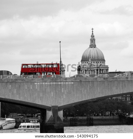London skyline, include Waterloo Bridge, Red Double Decker Bus, seen from Victoria Embankment