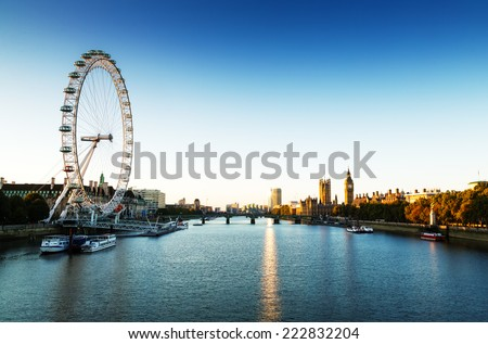 London Skyline landscape at Sunrise with Big Ben, Palace of Westminster, London Eye, Westminster Bridge, River Thames, London, England, UK.