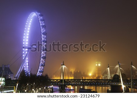 London skyline on a foggy night
