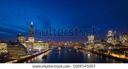 London skyline on Thames river at dusk.