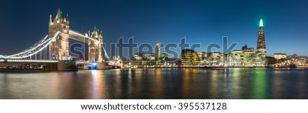 London Skyline Panorama at Twilight
