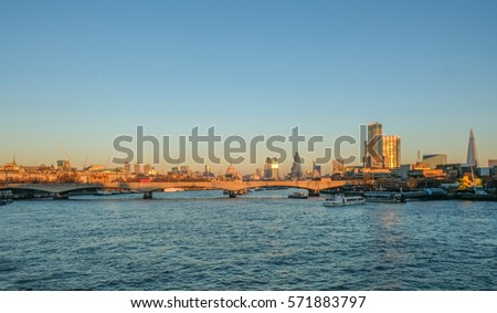 London Skyline photo showing Waterloo bridge and the City beyond.