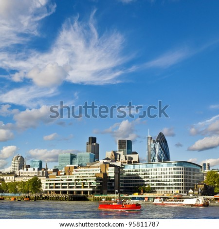London skyline seen from the River Thames