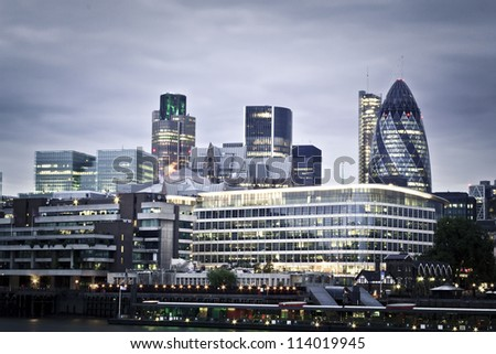 London skyline seen from the River Thames at twilight