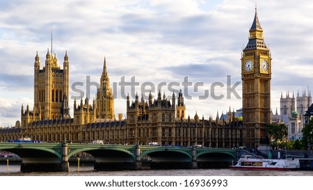 London Skyline  showing Big Ben and Westminster