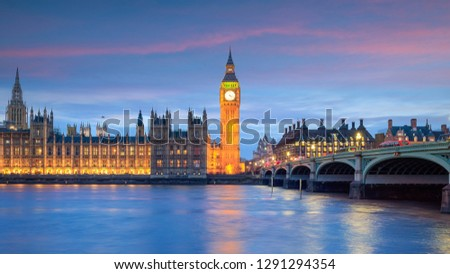 London skyline with Big Ben and Houses of parliament at twilight in UK. #1291294354