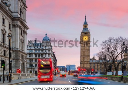 London skyline with Big Ben and Houses of parliament at twilight in UK. #1291294360