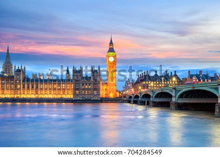 london skyline with big ben and ...