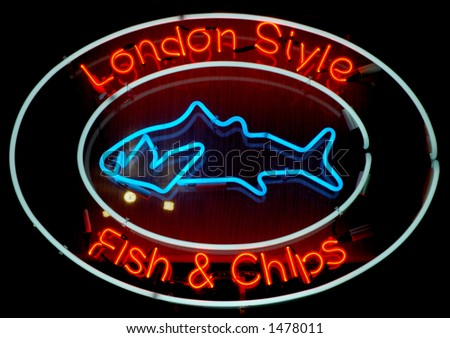 London Style Fish and Chips Neon Sign