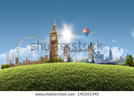 London summer park - photographic composition of famous landmarks of London, UK - sunny cityscape background with grassy hill and clear blue sky - great for posters, cards or banners