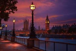 London sunset skyline Bigben and Thames river