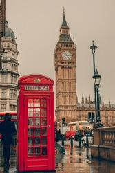 London symbols with BIG BEN and red PHONE BOOTHS in England, UK