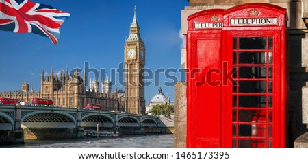 Photo of  London symbols with BIG BEN, DOUBLE DECKER BUSES and Red Phone Booths in England, UK