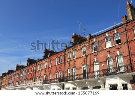 London Terrace. Victorian Terrace houses in central London showing a line of chimneys