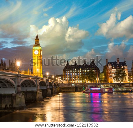 London.The Big Ben and Westminster Bridge at sunset England