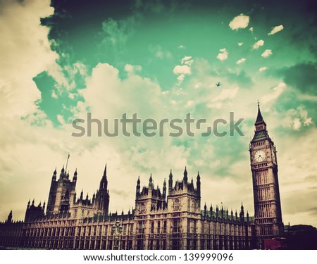 London, the UK. Big Ben, the Palace of Westminster. The icon of England in vintage, retro style