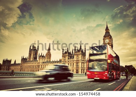 london  the uk. red bus  taxi...