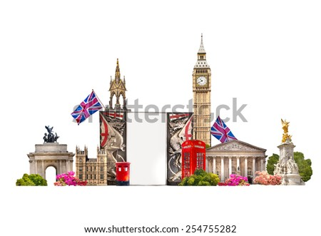 London. Tourist and business collage, London\'s famous buildings against of white background