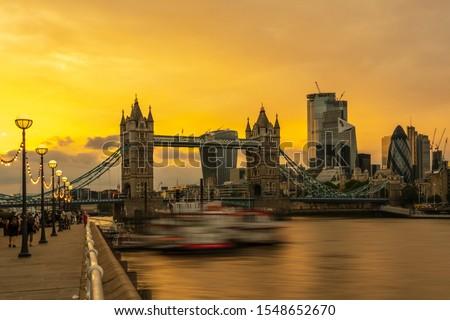 London Tower Bridge at sunset, London UK.