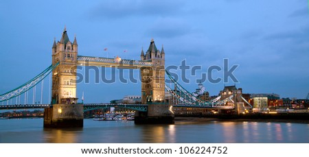 London Tower Bridge Panorama at dusk England UK