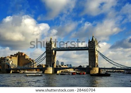 London Tower bridge through the river Thames