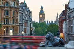 London Trafalgar Square lion and Big Ben tower at background