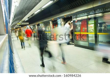London tube train station movement  #160984226