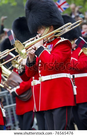 LONDON, UK - APRIL 29: A Royal Band plays music on the mall for the Royal Wedding of   Prince William and Catherine Middleton on April 29, 2011 in London, UK.