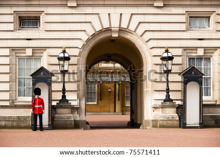 LONDON, UK - APRIL 2: A royal guard at Buckingham Palace which will be the starting point of the royal wedding procession to be held on Friday 29th April, April 2, 2011 in London, United Kingdom