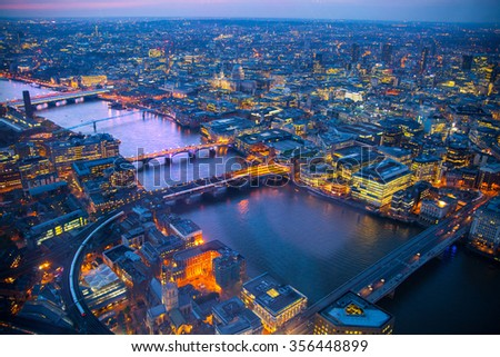 LONDON, UK - APRIL 15, 2015: City of London business and financial aria view at sunset #356448899