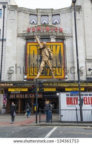LONDON, UK - APRIL 07: Entrance to We Will Rock You musical in Tottenham Court Road. The show celebrates the music of rock band Queen. April 07, 2013 in London.