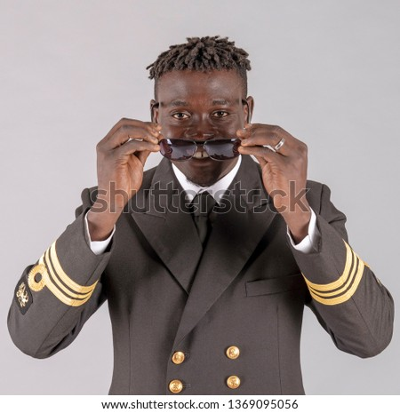London UK. April 2019. Lieutenant Commander wearing uniform of the South African Navy. Stock fotó ©