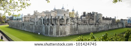 LONDON, UK - APRIL 30: Panoramic shot of the Tower of London. April 30, 2012 in London. The fortress dates back from the 1070s.