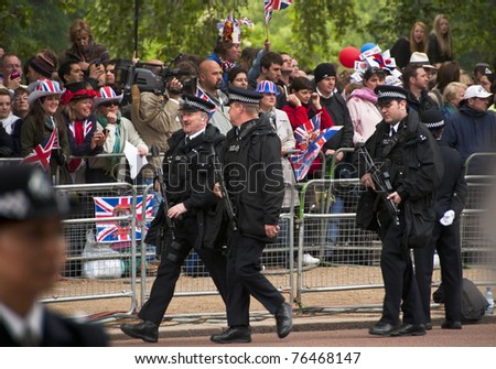 LONDON, UK - APRIL 29: Policemen at Prince William and Kate Middleton wedding, April 29, 2011 in London, United Kingdom