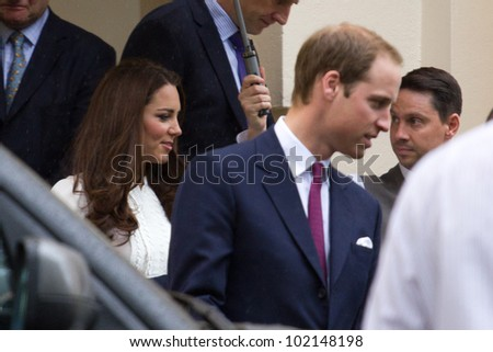 LONDON, UK - APRIL 27: Prince William and Kate Middleton leave the Royal Society after a princes trust meeting on the APRIL 27, 2012 in London, UK
