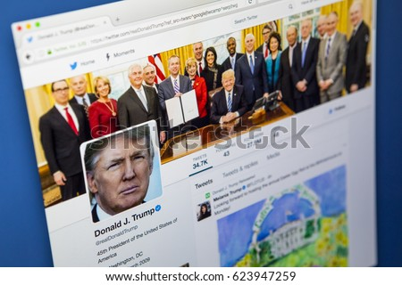 LONDON, UK - APRIL 15TH 2017: The official twitter page for Donald Trump, the President of the United States of America, on 15th April 2017.