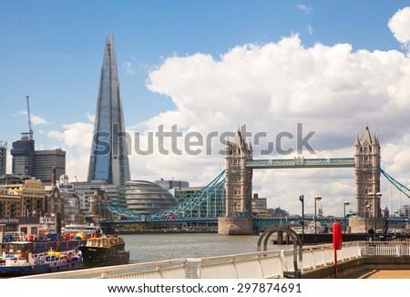 LONDON, UK - APRIL 30, 2015: Tower bridge and Shard of glass view from the River Thames