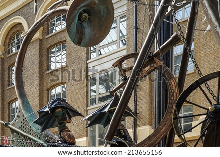 LONDON, UK - AUGUST 22 : Close-up of The Navigators sculpture by David Kemp in London on August 22, 2014 #213655156