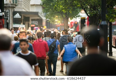 London, UK - August 24, 2016: Crowd in Oxford street, the main destination of Londoners for shopping. Modern life concept #618624437