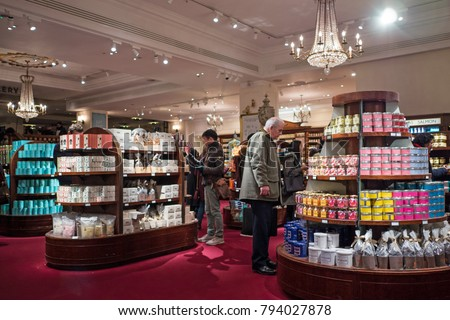 LONDON, UK - CIRCA JANUARY, 2018:  Fortnum & Mason interior department store (Piccadilly). Fortnum & Mason is a famous department store established in 1707 by William Fortnum and Hugh Mason.