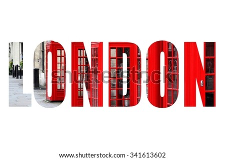 London UK - city name word with photo in background. Isolated on white.