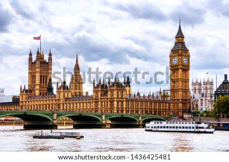 London, UK. Cloudy sky over the city of London, UK. Westminster and Big Ben. Westminster bridge at during the day